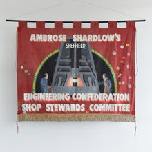 Load image into Gallery viewer, Vintage Large Double Sided Ambrose Shardlow's Sheffield Political Protest Banner from 1980s