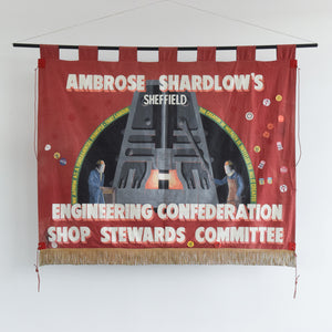 Vintage Large Double Sided Ambrose Shardlow's Sheffield Political Protest Banner from 1980s