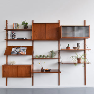 Vintage Danish Preben Sorensen for Randers Mobelfabrik Teak Modular Wall Mounted Shelving Unit
