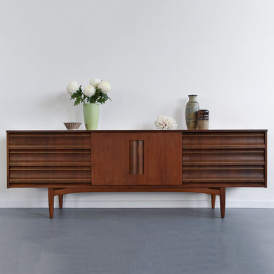Vintage Rare Extra Long Teak Sideboard / Credenza with Brass Tube Line by Elliotts of Newbury