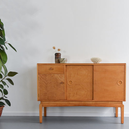Rare Vintage Birch Veneered 1930s Art Deco Sideboard / Credenza by P.E. Gane LTD of Bristol