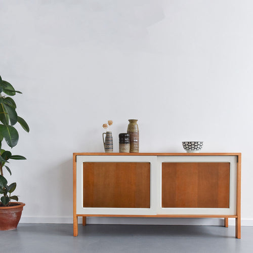 Vintage Wood and Melamine Sideboard with Sliding Doors by Terrence Conran for Habitat