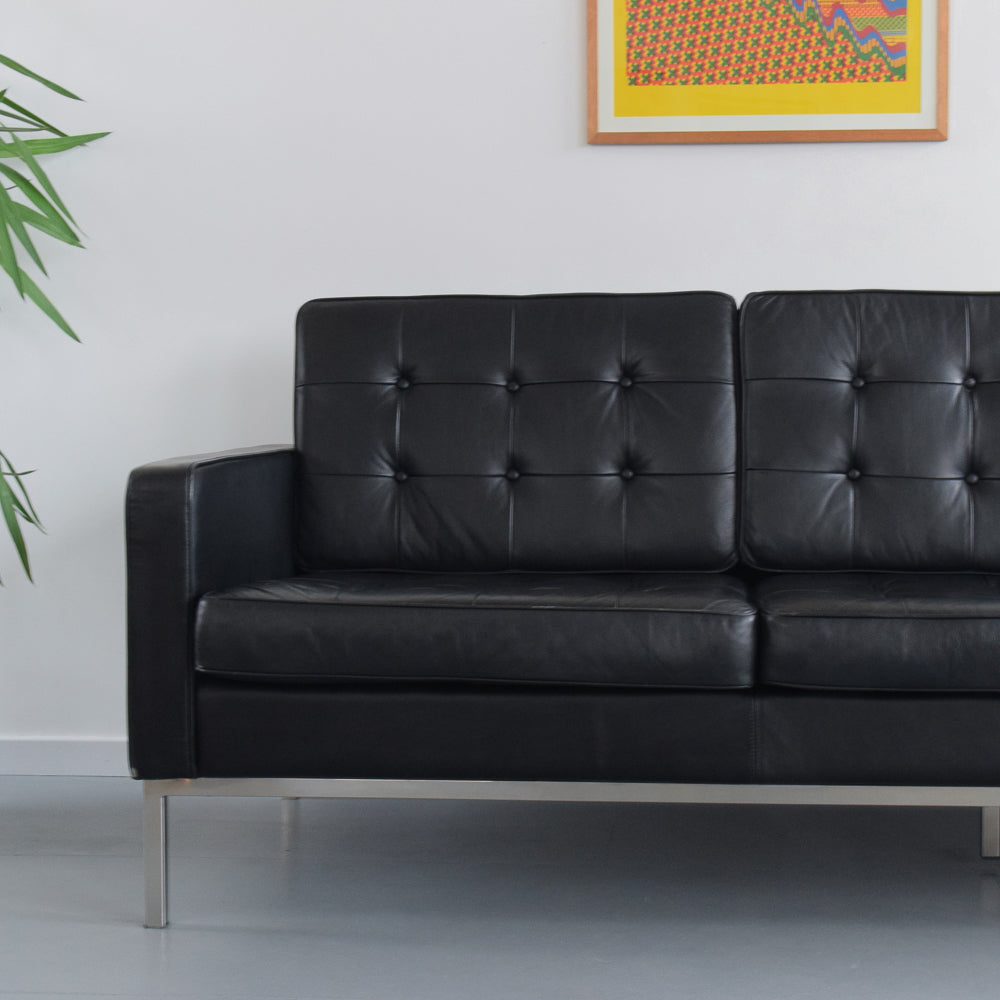 Vintage Black Padded Leatherette Couch / Sofa with Chrome Frame after Florence Knoll