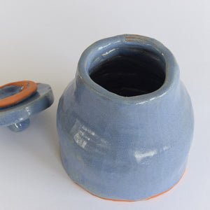 Vintage Blue Handmade Studio Pottery Lidded Terracotta Pot / Jar