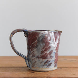 Vintage Small Blue and Burgundy Patterned Stoneware Pottery Jug