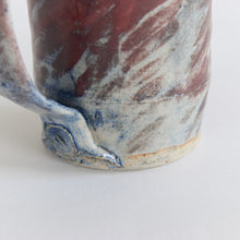 Load image into Gallery viewer, Vintage Small Blue and Burgundy Patterned Stoneware Pottery Jug