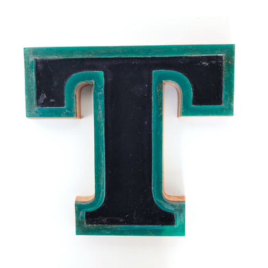 T - Medium Factory Shop Letter Ply Wood & Perspex Black and Green