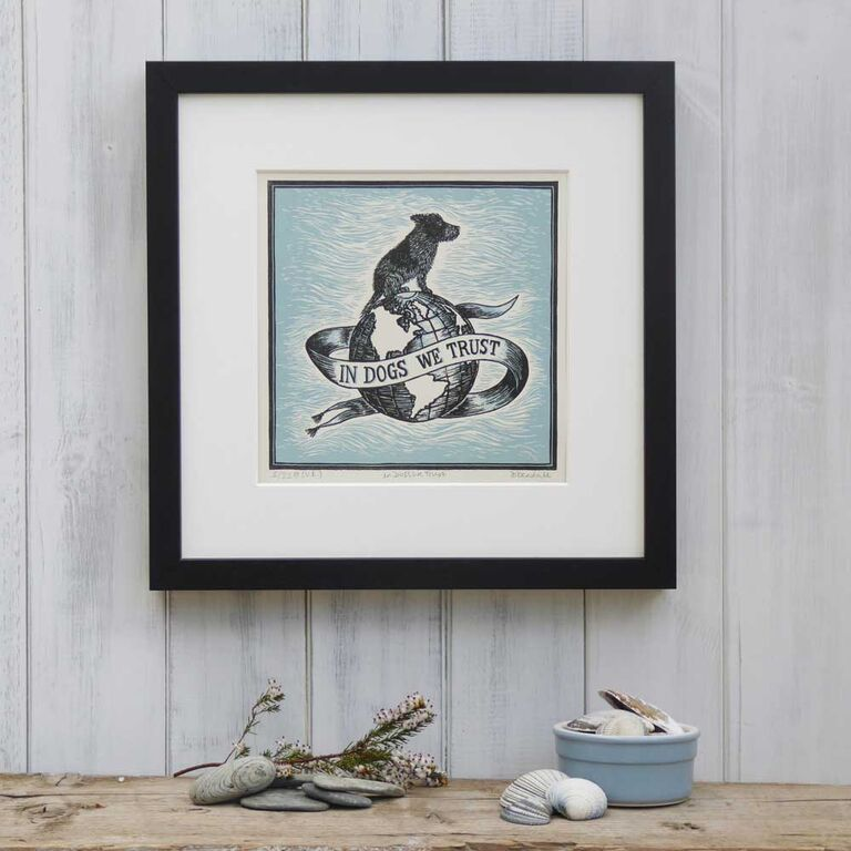 In Dogs We Trust - Mounted Blue Linoprint