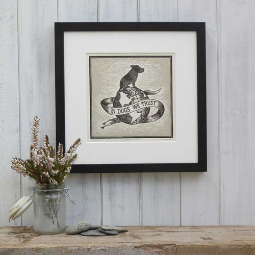 In Dogs We Trust - Mounted Grey Linoprint