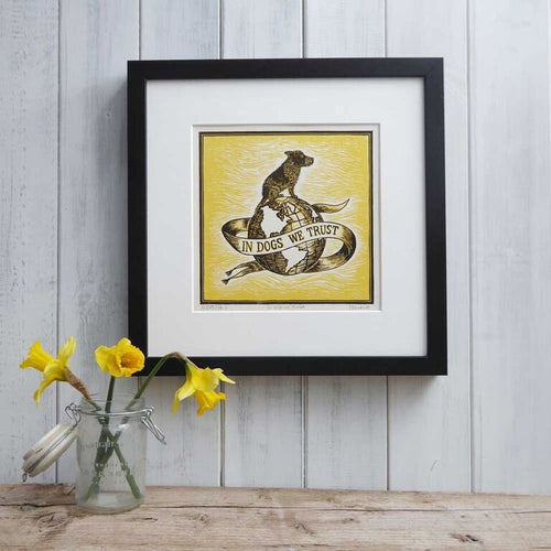 In Dogs We Trust - Mounted Yellow Linoprint