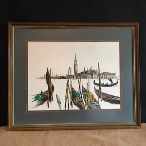 1970s Ink & Water Colour of Venice