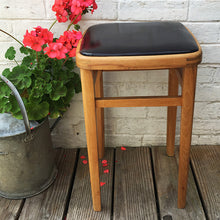 Load image into Gallery viewer, Vintage Wooden Kitchen Stool - Black