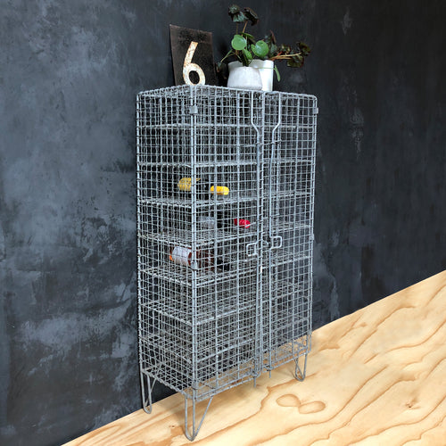 Vintage wire mesh storage locker