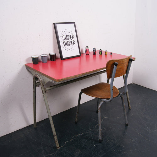 Children's small metal legged desk with red formica top