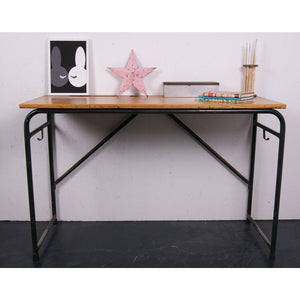 Children's tall French dark green metal legged desk