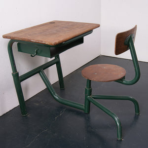 Children's Green Metal Legged Adjustable Desk with Attached Chair
