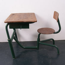 Load image into Gallery viewer, Children's Green Metal Legged Adjustable Desk with Attached Chair