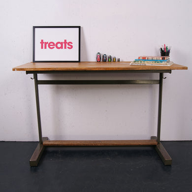 Children's French Double School Desk with Green Frame & Footrest