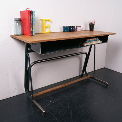 Children's French Double School Desk with Green Legs, Footrest and Shelf