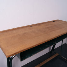 Load image into Gallery viewer, Children's French Double School Desk with Green Legs, Footrest and Shelf