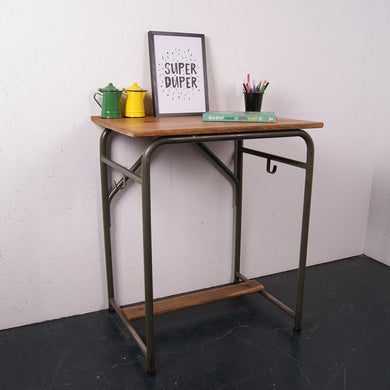 Single School Desk with Light Green Legs & Footrest