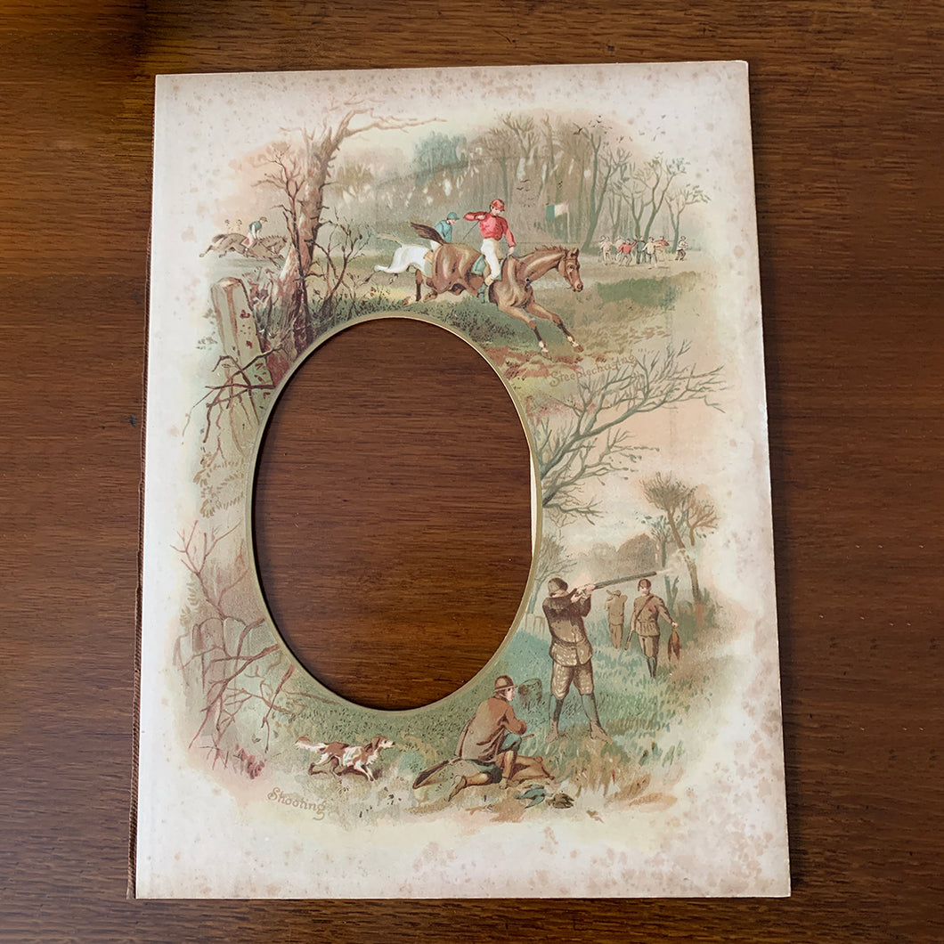 19th century photo frame Shooting, Steeplechasing
