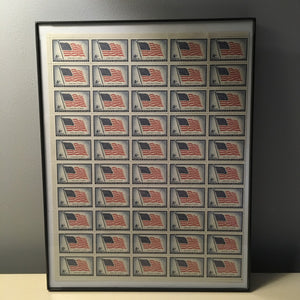 Framed Sheet of 1957 Old Glory USA Stamps