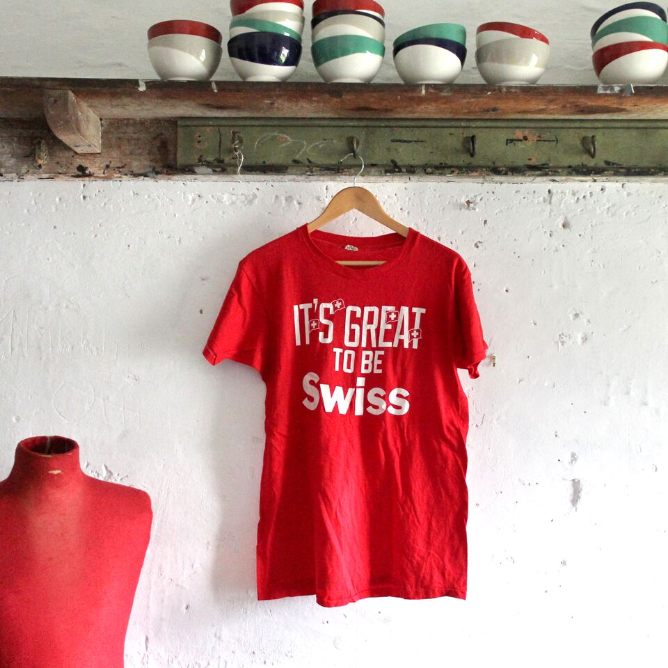 1980s Vintage T Shirt - It's Great To Be Swiss - XL