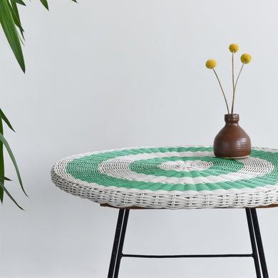 Vintage Green and White Wicker Side / Coffee Table