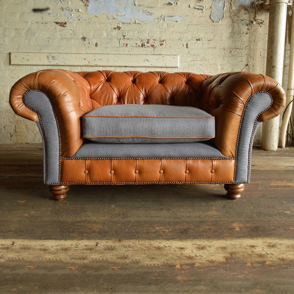 Tan Leather & Grey Wool Chesterfield Sofa