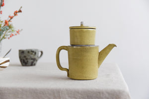 Vintage Yellow Studio Pottery Small Stoneware Teapot