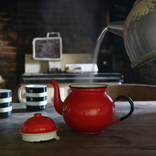 Load image into Gallery viewer, Small Red Vintage Enamel Teapot