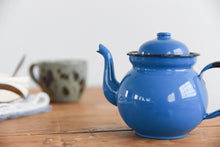 Load image into Gallery viewer, Vintage Small Blue Enamel Teapot for One