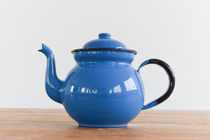 Vintage Small Blue Enamel Teapot for One
