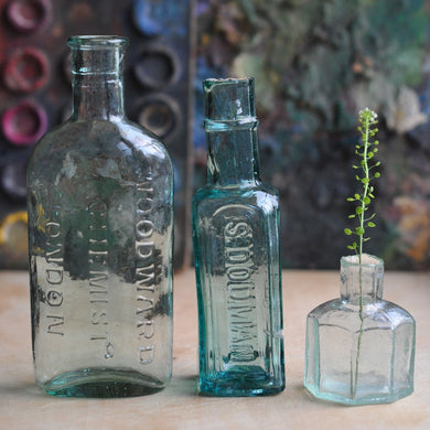 Vintage Victorian Aqua Glass Bottle Collection - Set of Three