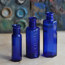 Load image into Gallery viewer, Vintage Blue Medicine Apothecary Bottles - Set of Three