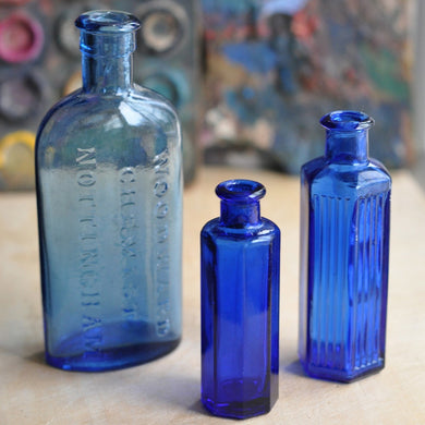 Vintage Blue Medicine Apothecary Bottles - Set of Three