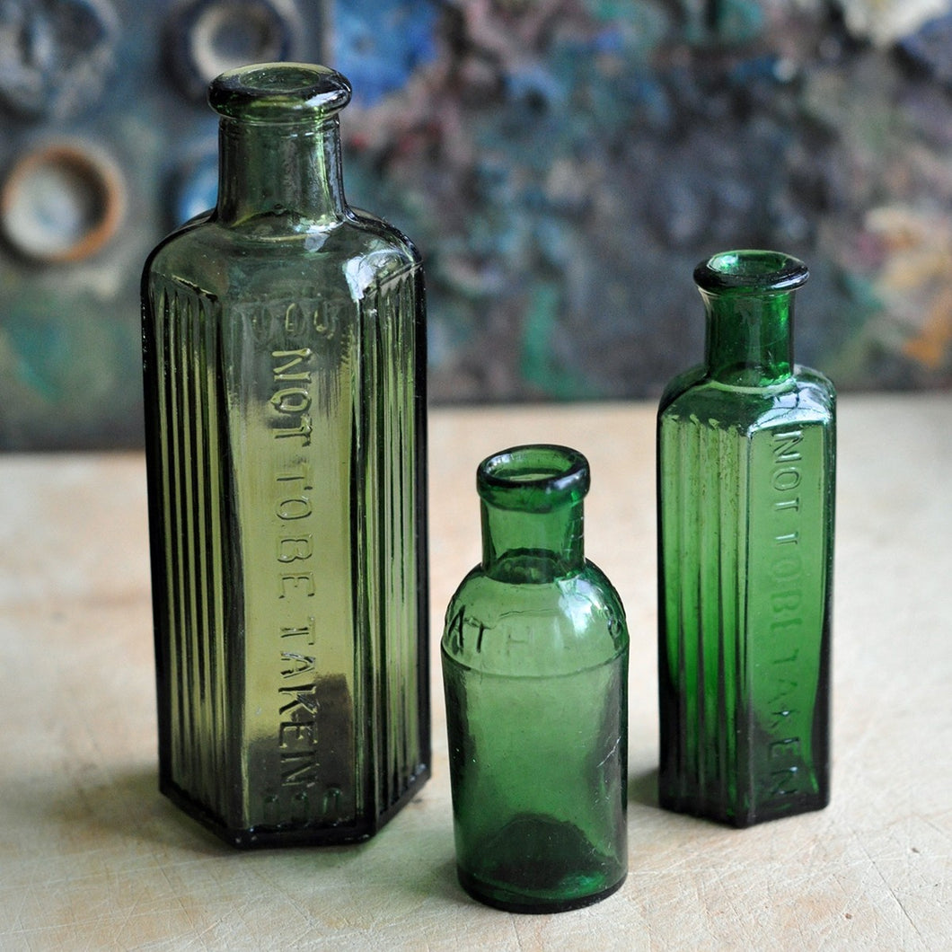 Vintage Green Medicine Apothecary Bottles - Set of Three