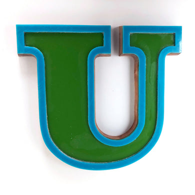 U - Medium Factory Shop Letter Ply Wood & Perspex Green & Blue