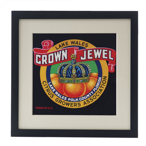 Unframed Vintage Fruit Crate Label - Crown Jewels
