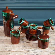 Load image into Gallery viewer, Brown & Teal Coffee Set 1970s
