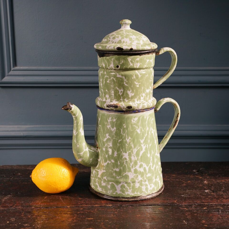 Green & White Mottled Cafetiere
