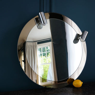 Round Mirror with Chrome Spotlights