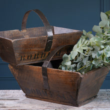 Load image into Gallery viewer, Dark Wood Trug with Metal Handle