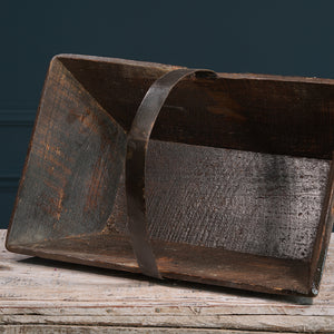 Dark Wood Trug with Metal Handle