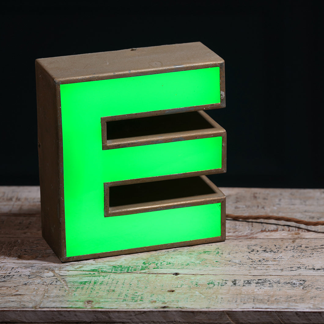 E Green Perspex and Metal Letter Light