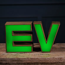 Load image into Gallery viewer, E Green Perspex and Metal Letter Light
