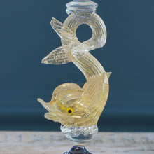 Load image into Gallery viewer, Pair of Mid-Century Clear & Gold Leaf Murano Glass Koi Carp Candle Sticks