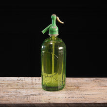 Load image into Gallery viewer, Chartreuse Green Label Detail Glass Soda Siphon