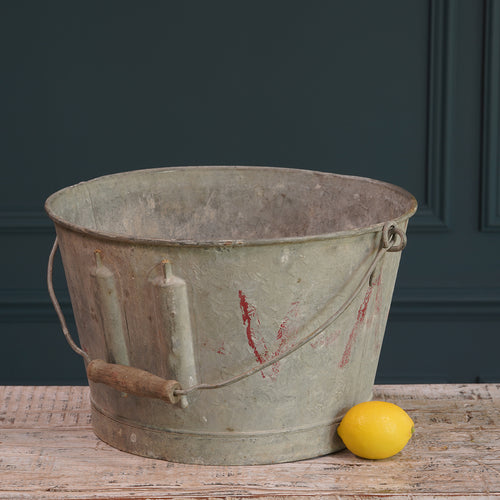 Galvanised Bucket with Wooden Handle